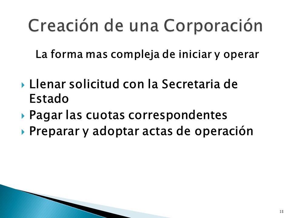 La forma mas compleja de iniciar y operar Llenar solicitud con la Secretaria de Estado Pagar las cuotas correspondentes Preparar y adoptar actas de operación 18