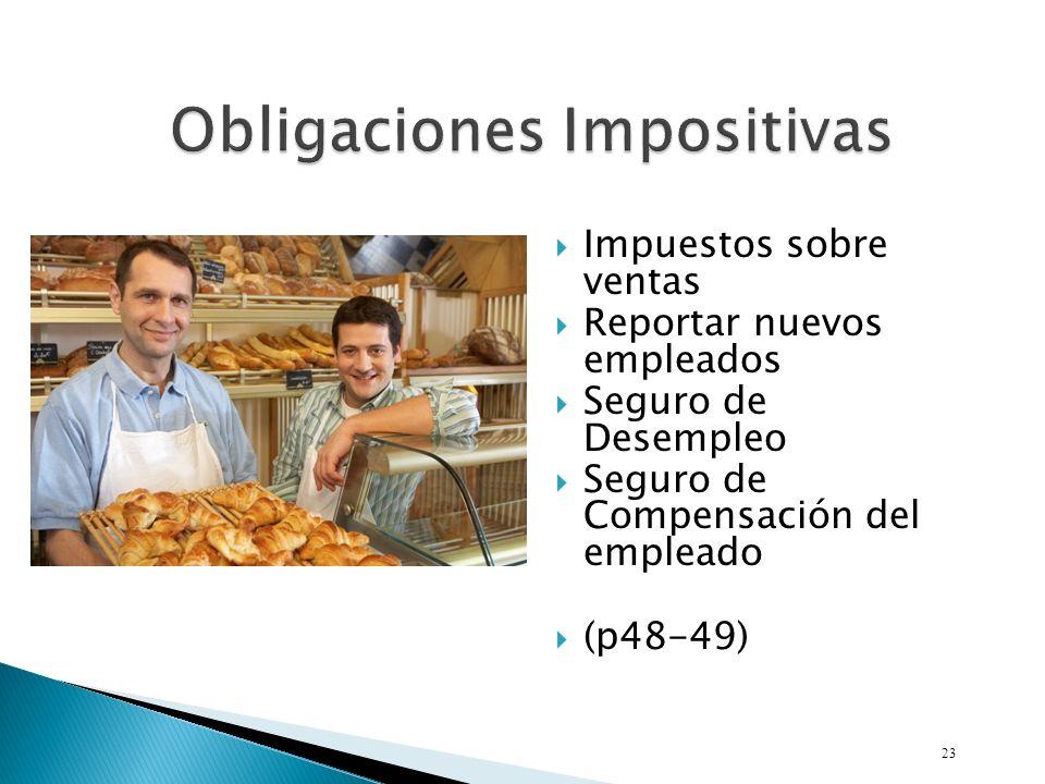 Impuestos sobre ventas Reportar nuevos empleados Seguro de Desempleo Seguro de Compensación del empleado (p48-49) 23