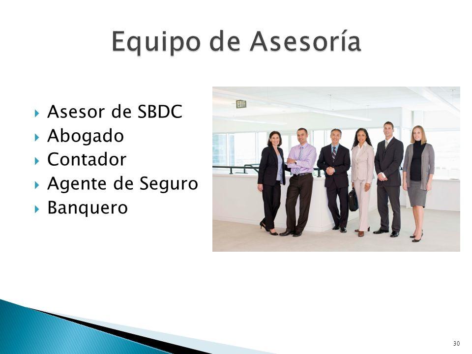 Asesor de SBDC Abogado Contador Agente de Seguro Banquero 30