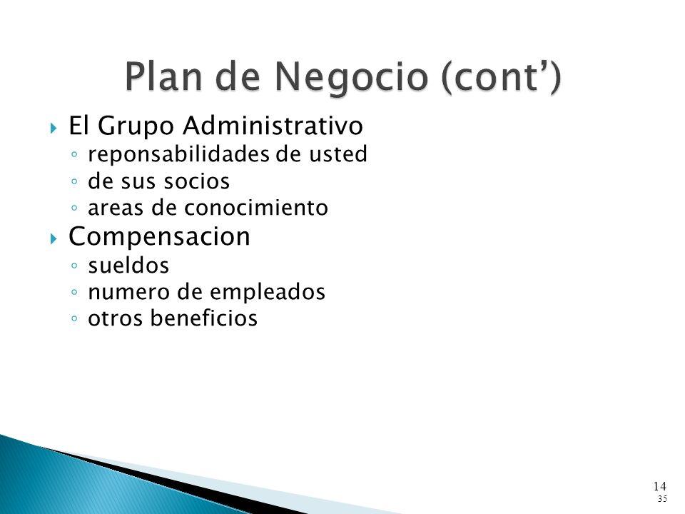 El Grupo Administrativo reponsabilidades de usted de sus socios areas de conocimiento Compensacion sueldos numero de empleados otros beneficios 35 14