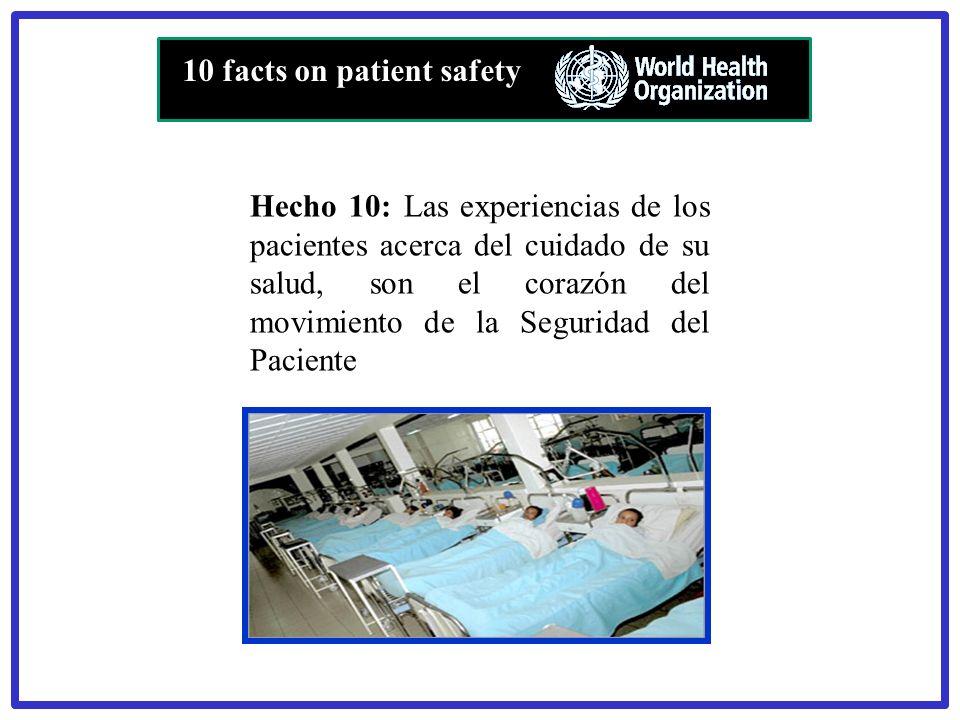 Hecho 10: Las experiencias de los pacientes acerca del cuidado de su salud, son el corazón del movimiento de la Seguridad del Paciente 10 facts on pat