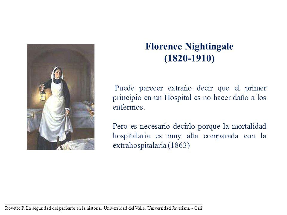 Rovetto P. La seguridad del paciente en la historia. Universidad del Valle. Universidad Javeriana - Cali Florence Nightingale (1820-1910) Puede parece