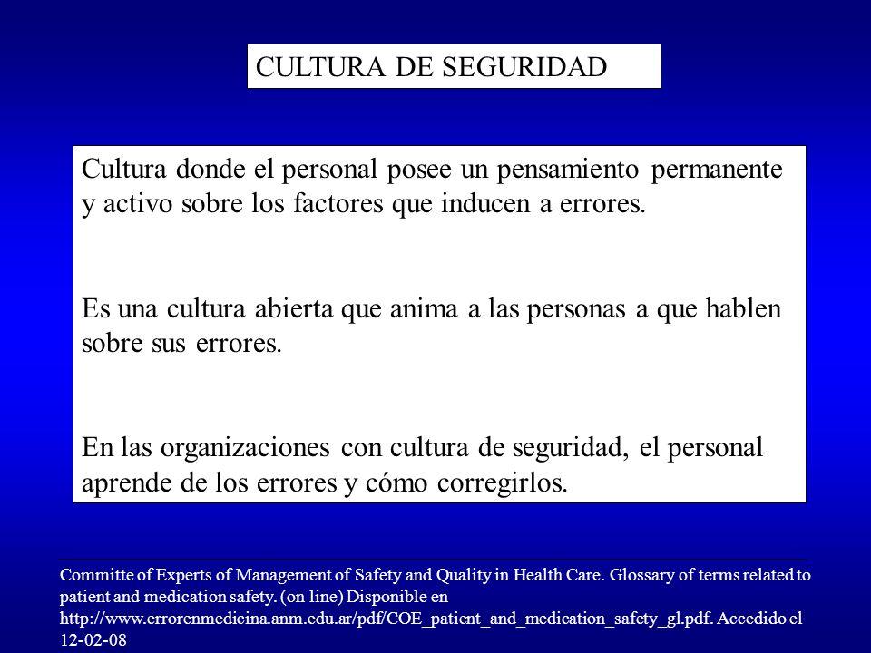 CULTURA DE SEGURIDAD Cultura donde el personal posee un pensamiento permanente y activo sobre los factores que inducen a errores. Es una cultura abier