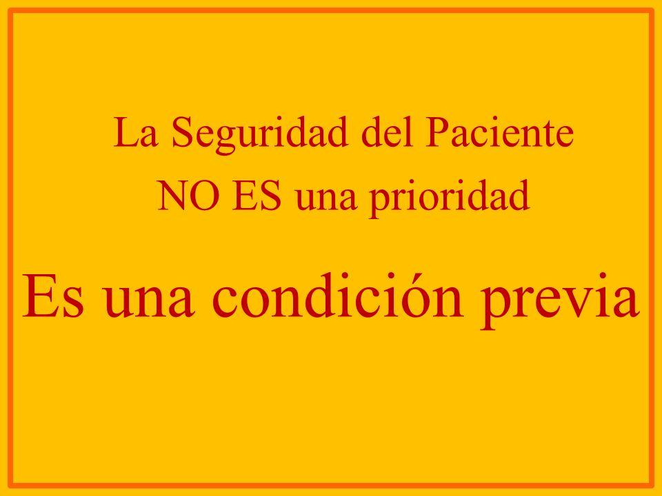 La Seguridad del Paciente NO ES una prioridad Es una condición previa