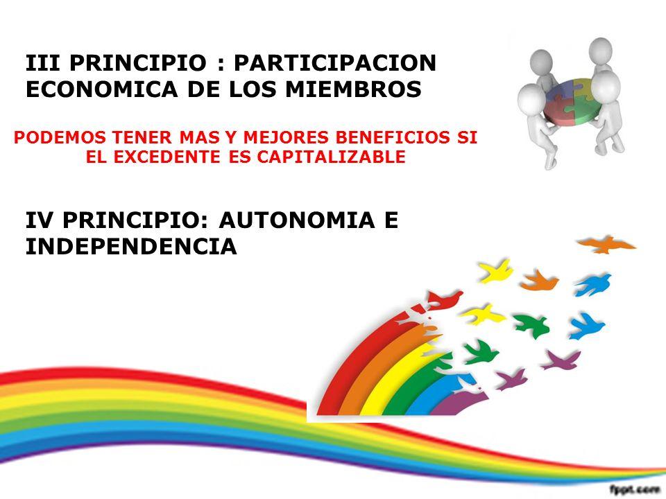 III PRINCIPIO : PARTICIPACION ECONOMICA DE LOS MIEMBROS PODEMOS TENER MAS Y MEJORES BENEFICIOS SI EL EXCEDENTE ES CAPITALIZABLE IV PRINCIPIO: AUTONOMI