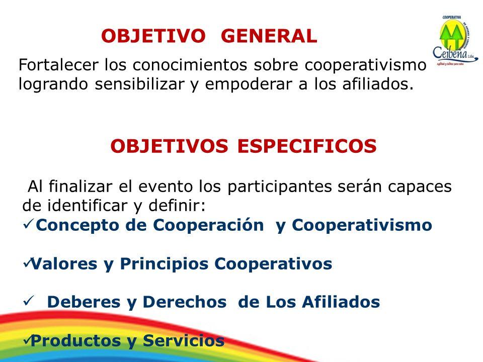 OBJETIVO GENERAL Fortalecer los conocimientos sobre cooperativismo logrando sensibilizar y empoderar a los afiliados. OBJETIVOS ESPECIFICOS Al finaliz