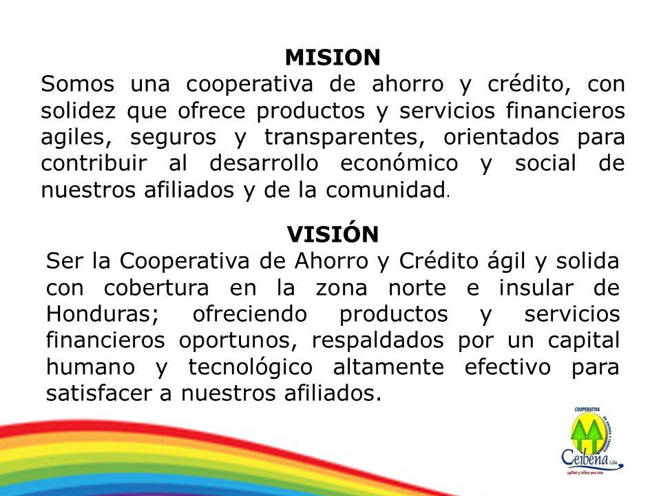 MISION Somos una cooperativa de ahorro y crédito, con solidez que ofrece productos y servicios financieros agiles, seguros y transparentes, orientados