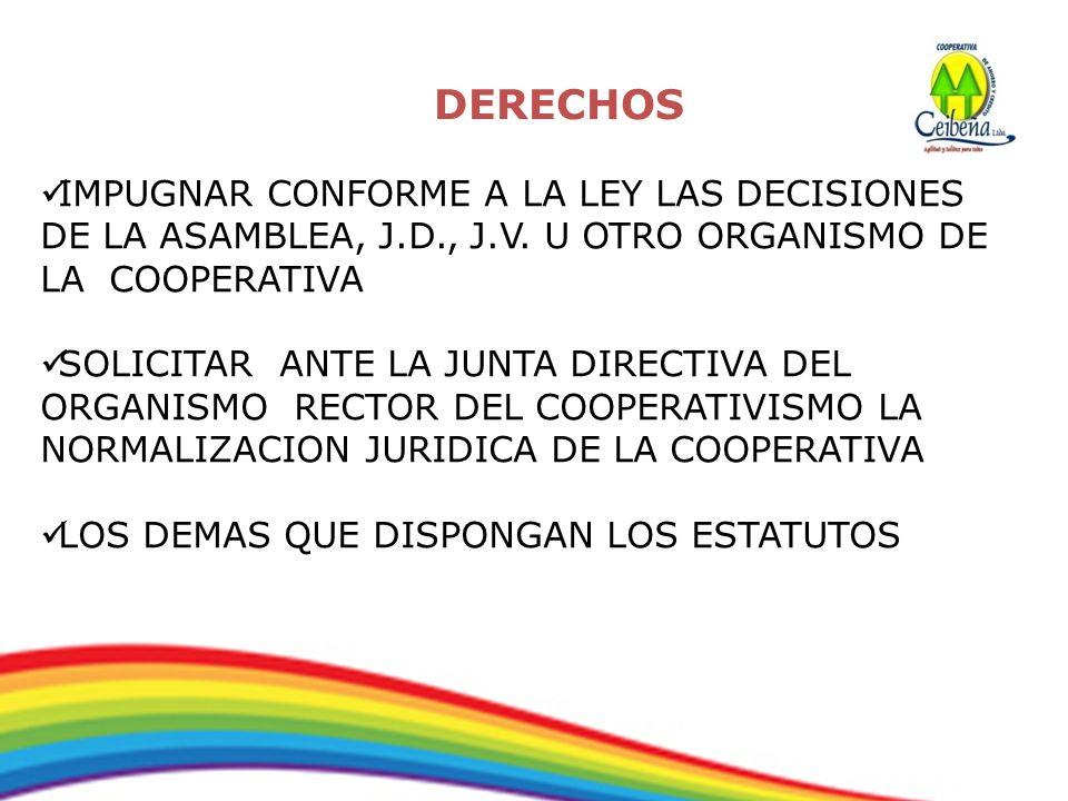 IMPUGNAR CONFORME A LA LEY LAS DECISIONES DE LA ASAMBLEA, J.D., J.V. U OTRO ORGANISMO DE LA COOPERATIVA SOLICITAR ANTE LA JUNTA DIRECTIVA DEL ORGANISM