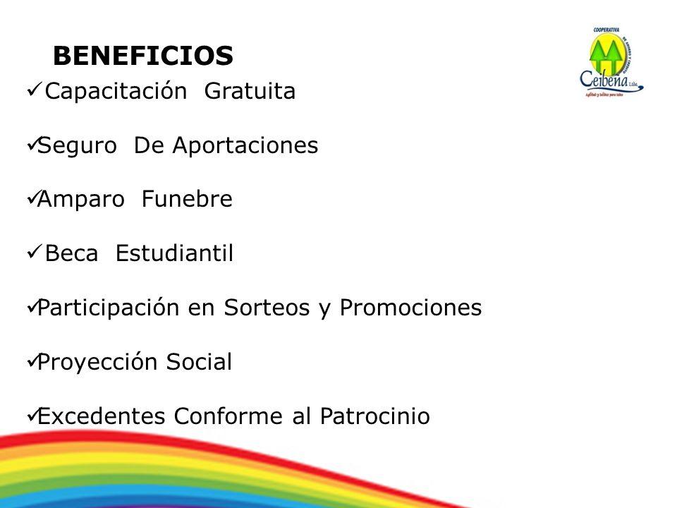 BENEFICIOS Capacitación Gratuita Seguro De Aportaciones Amparo Funebre Beca Estudiantil Participación en Sorteos y Promociones Proyección Social Exced