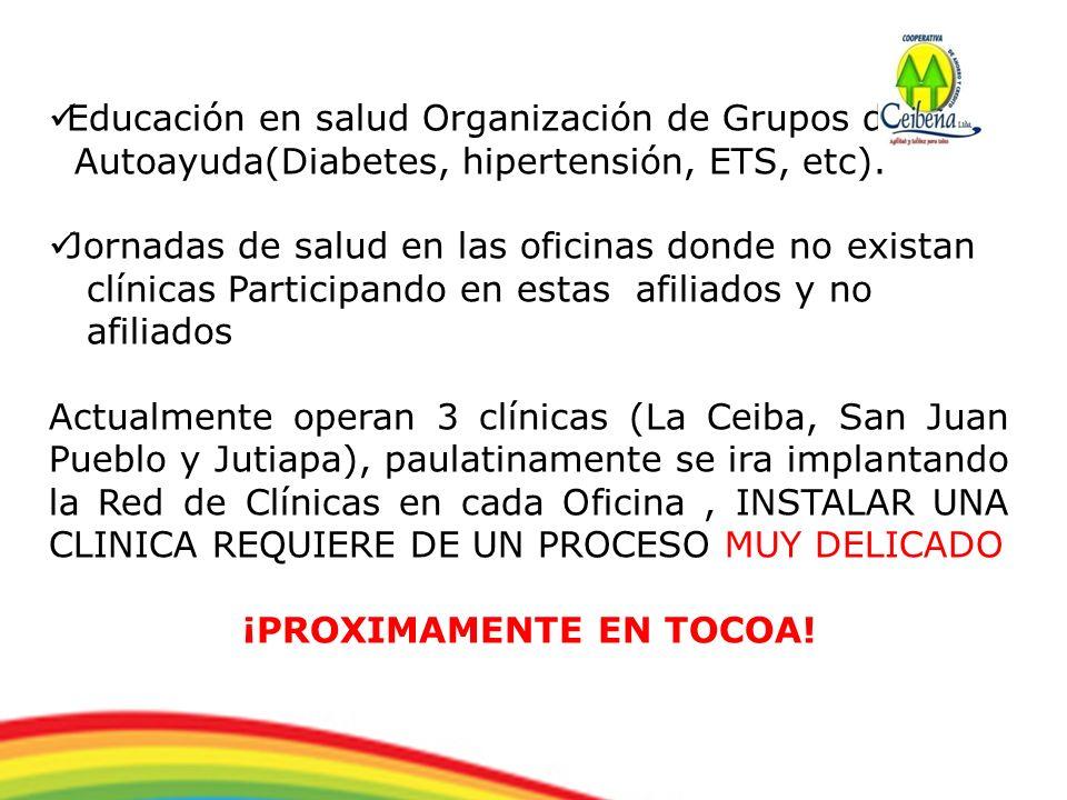 Educación en salud Organización de Grupos de Autoayuda(Diabetes, hipertensión, ETS, etc). Jornadas de salud en las oficinas donde no existan clínicas