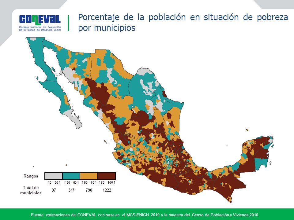 Porcentaje de la población en situación de pobreza por municipios por municipio.