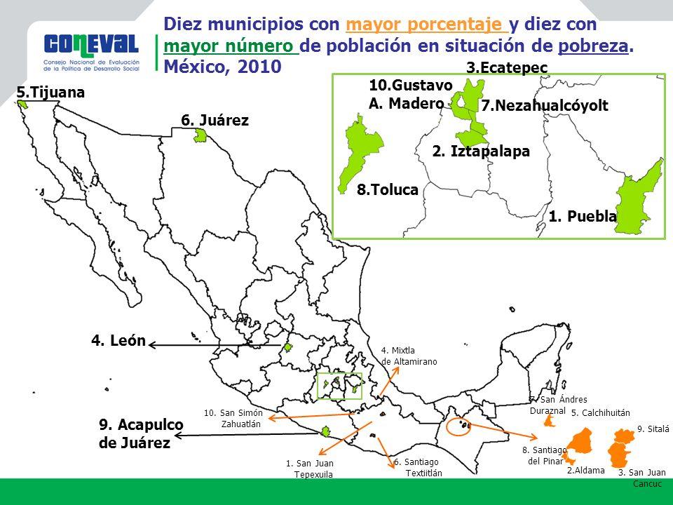 8.Toluca 1.Puebla 3.Ecatepec 7.Nezahualcóyolt 2. Iztapalapa 10.Gustavo A.