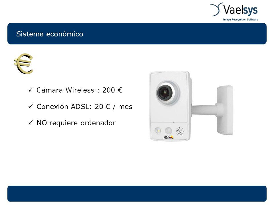 Sistema económico Cámara Wireless : 200 Conexión ADSL: 20 / mes NO requiere ordenador