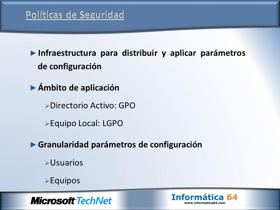 Infraestructura para distribuir y aplicar parámetros de configuración Ámbito de aplicación Directorio Activo: GPO Equipo Local: LGPO Granularidad parámetros de configuración Usuarios Equipos