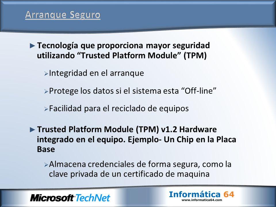 Tecnología que proporciona mayor seguridad utilizando Trusted Platform Module (TPM) Integridad en el arranque Protege los datos si el sistema esta Off-line Facilidad para el reciclado de equipos Trusted Platform Module (TPM) v1.2 Hardware integrado en el equipo.