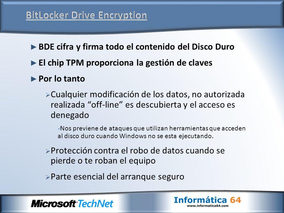 BDE cifra y firma todo el contenido del Disco Duro El chip TPM proporciona la gestión de claves Por lo tanto Cualquier modificación de los datos, no autorizada realizada off-line es descubierta y el acceso es denegado Nos previene de ataques que utilizan herramientas que acceden al disco duro cuando Windows no se esta ejecutando.