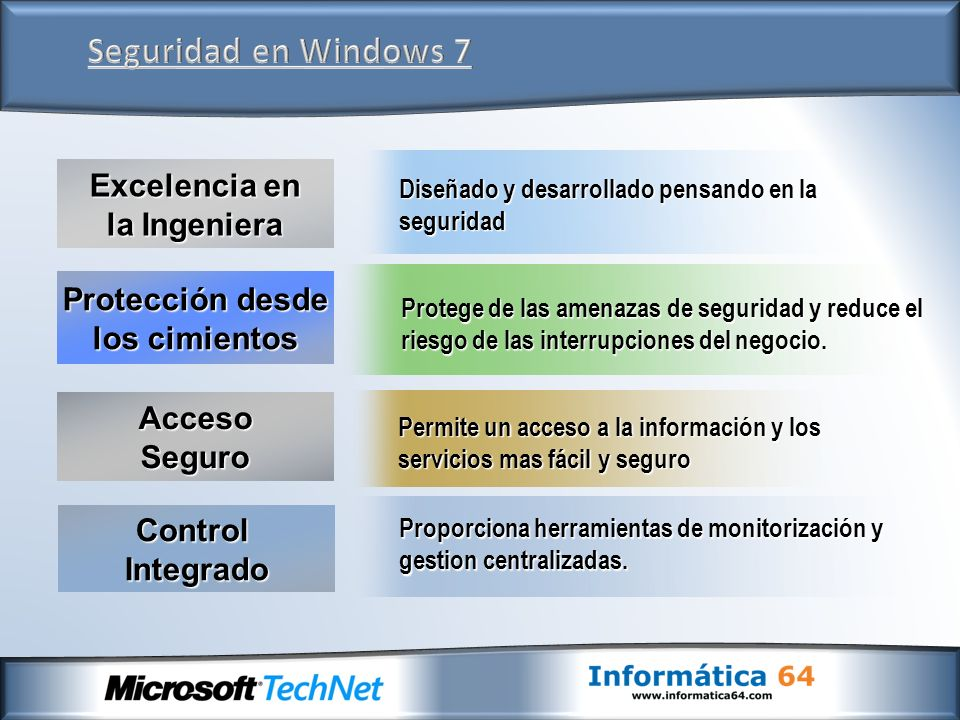 Durante el desarrollo y creación de Windows 7, Microsoft siguió su proceso mejorado de desarrollo seguro (SDL-Security Developmente LifeCycle).