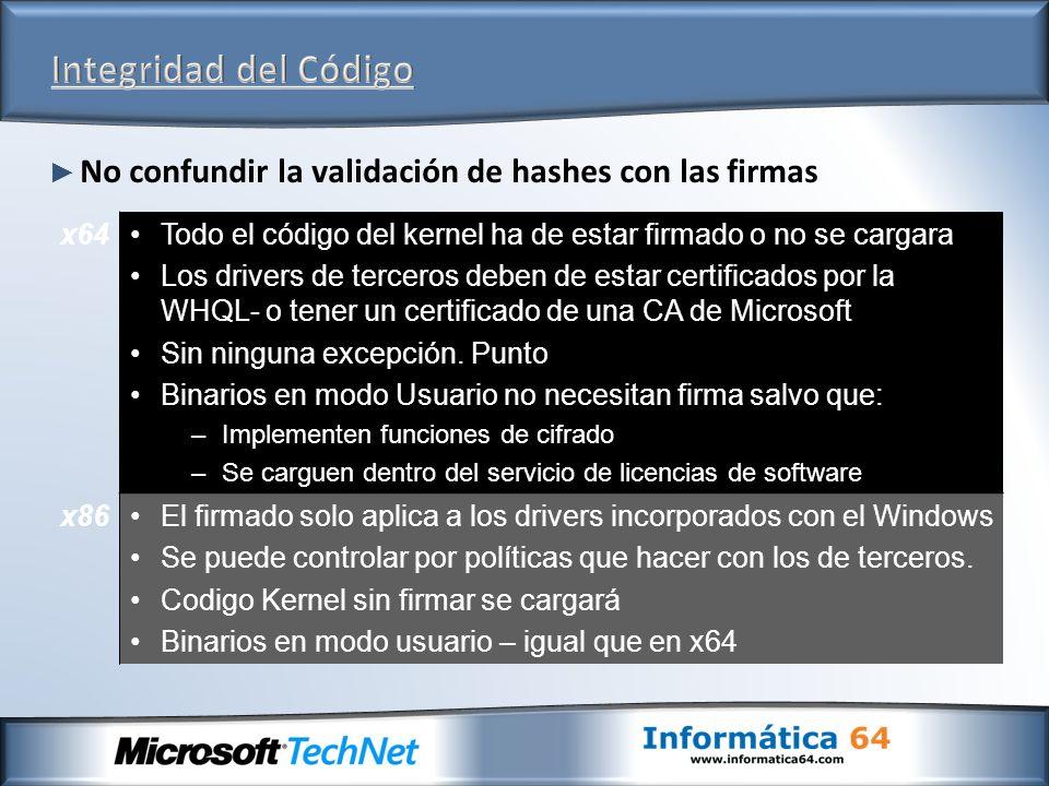 Otras mejoras de seguridad a nivel de red para IPv4 e IPv6 Modelo de Host fuerte Compartimentos de enrutamiento por sesión Windows Filtering Platform Mejora de la resistencia de la pila TCP/IP contra ataques conocidos de DOS Auto-configuración y re-configuración sin reinicio http://www.microsoft.com/technet/community/col umns/cableguy/cg0905.mspx http://www.microsoft.com/technet/community/col umns/cableguy/cg0905.mspx