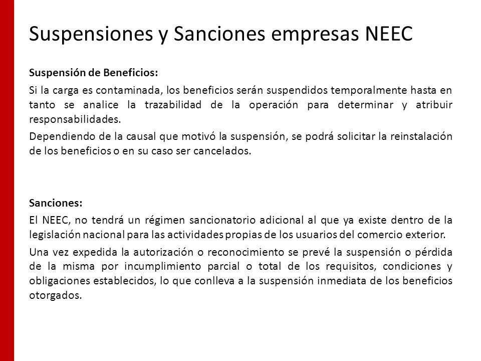 Suspensiones y Sanciones empresas NEEC Suspensión de Beneficios: Si la carga es contaminada, los beneficios serán suspendidos temporalmente hasta en t