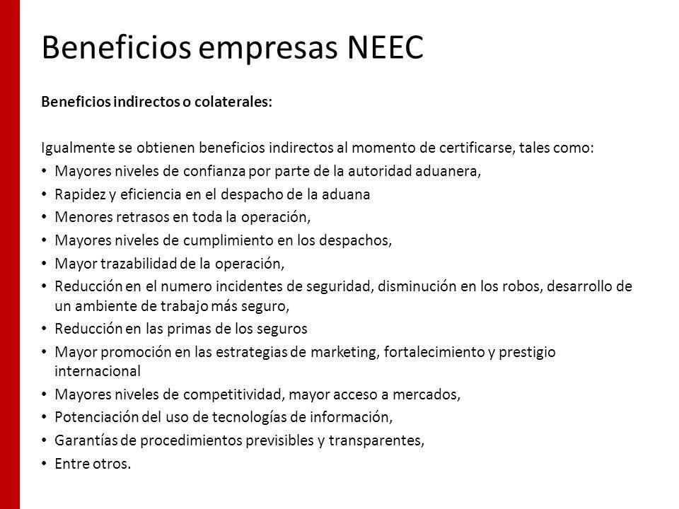 Beneficios empresas NEEC Beneficios indirectos o colaterales: Igualmente se obtienen beneficios indirectos al momento de certificarse, tales como: May