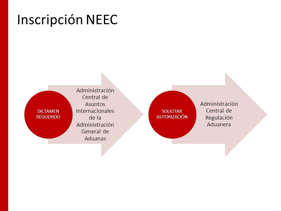 Inscripción NEEC Administración Central de Asuntos Internacionales de la Administración General de Aduanas DICTAMEN REQUERIDO Administración Central d