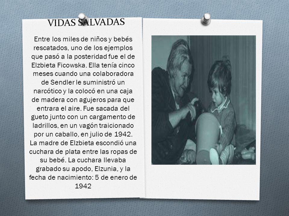 VIDAS SALVADAS Entre los miles de niños y bebés rescatados, uno de los ejemplos que pasó a la posteridad fue el de Elzbieta Ficowska. Ella tenía cinco