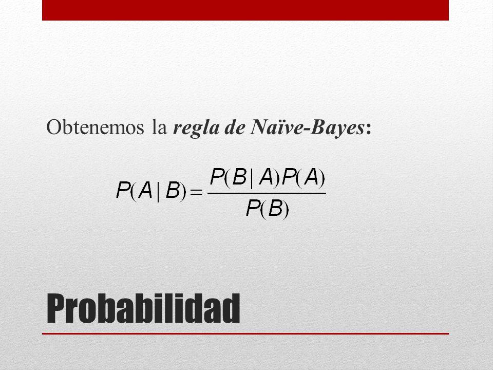 Probabilidad Obtenemos la regla de Naïve-Bayes: