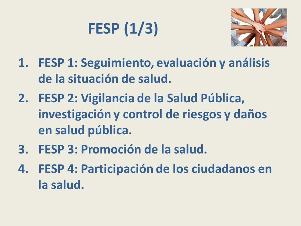 FESP (1/3) 1.FESP 1: Seguimiento, evaluación y análisis de la situación de salud. 2.FESP 2: Vigilancia de la Salud Pública, investigación y control de