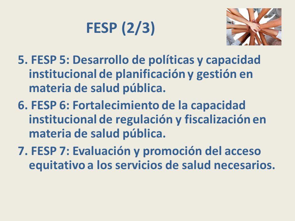 FESP (2/3) 5. FESP 5: Desarrollo de políticas y capacidad institucional de planificación y gestión en materia de salud pública. 6. FESP 6: Fortalecimi