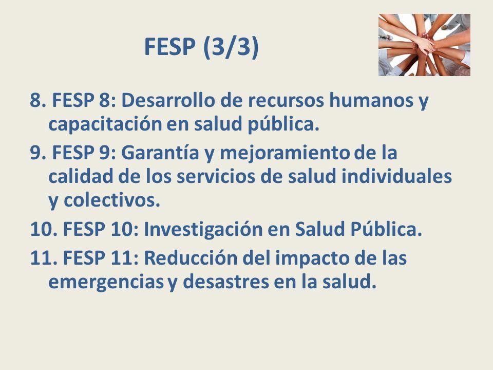 FESP (3/3) 8. FESP 8: Desarrollo de recursos humanos y capacitación en salud pública. 9. FESP 9: Garantía y mejoramiento de la calidad de los servicio