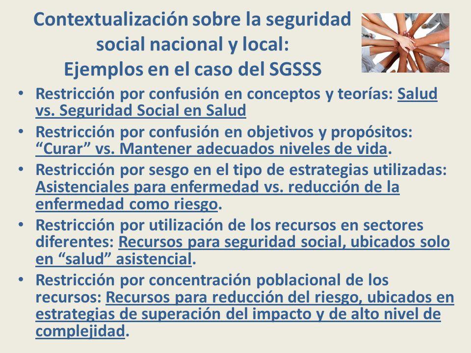 Contextualización sobre la seguridad social nacional y local: Ejemplos en el caso del SGSSS Restricción por confusión en conceptos y teorías: Salud vs