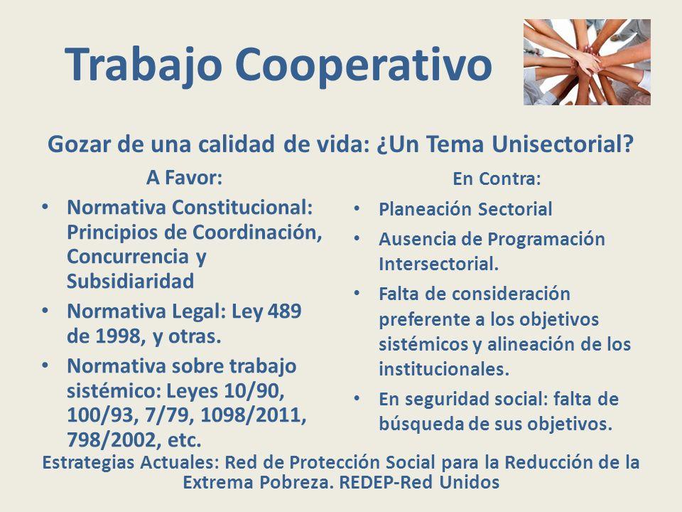 Trabajo Cooperativo Gozar de una calidad de vida: ¿Un Tema Unisectorial? A Favor: Normativa Constitucional: Principios de Coordinación, Concurrencia y