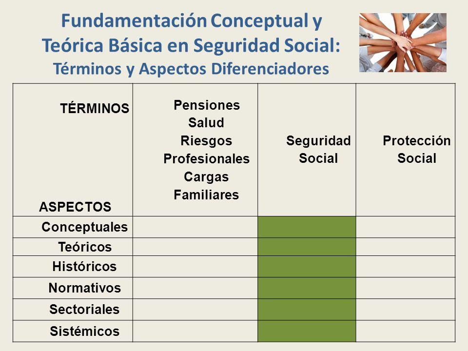 Fundamentación Conceptual y Teórica Básica en Seguridad Social: Términos y Aspectos Diferenciadores TÉRMINOS ASPECTOS Pensiones Salud Riesgos Profesio