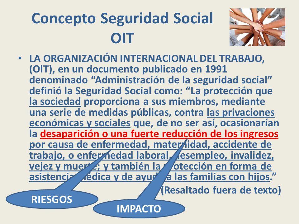Concepto Seguridad Social OIT LA ORGANIZACIÓN INTERNACIONAL DEL TRABAJO, (OIT), en un documento publicado en 1991 denominado Administración de la segu