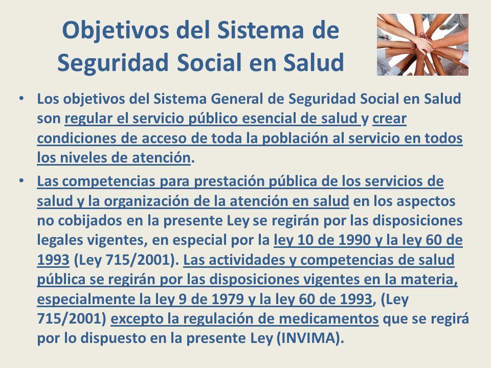 Objetivos del Sistema de Seguridad Social en Salud Los objetivos del Sistema General de Seguridad Social en Salud son regular el servicio público esen