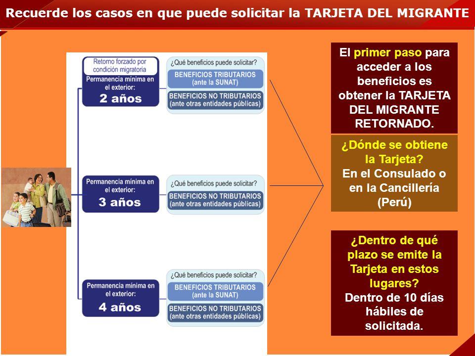Recuerde los casos en que puede solicitar la TARJETA DEL MIGRANTE El primer paso para acceder a los beneficios es obtener la TARJETA DEL MIGRANTE RETO