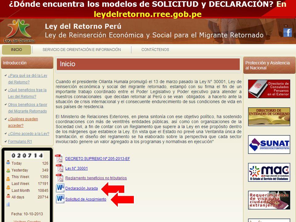 ¿Dónde encuentra los modelos de SOLICITUD y DECLARACIÓN? En leydelretorno.rree.gob.pe