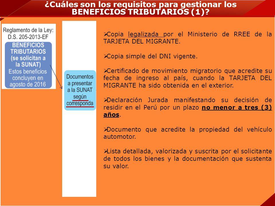 ¿Cuáles son los requisitos para gestionar los BENEFICIOS TRIBUTARIOS (1)? Copia legalizada por el Ministerio de RREE de la TARJETA DEL MIGRANTE. Copia