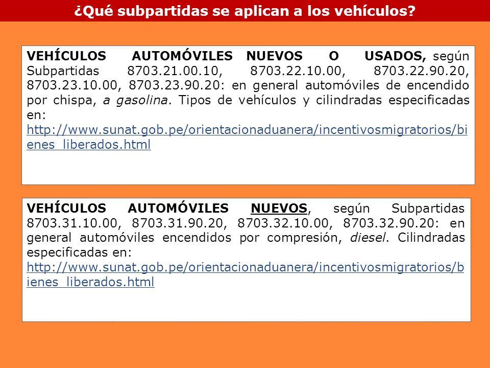 ¿Qué subpartidas se aplican a los vehículos? VEHÍCULOS AUTOMÓVILES NUEVOS O USADOS, según Subpartidas 8703.21.00.10, 8703.22.10.00, 8703.22.90.20, 870