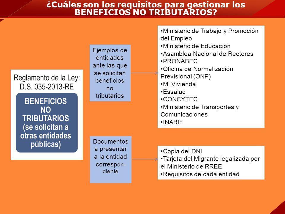 ¿Cuáles son los requisitos para gestionar los BENEFICIOS NO TRIBUTARIOS? Ejemplos de entidades ante las que se solicitan beneficios no tributarios Doc