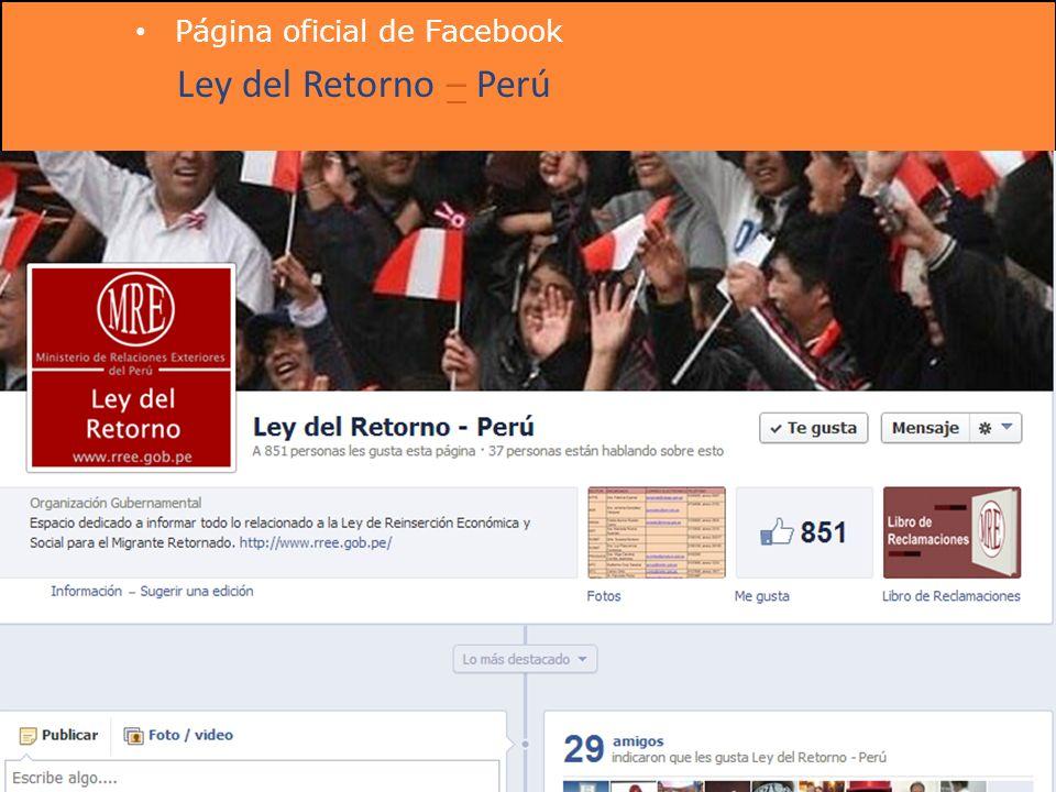 Página oficial de Facebook Ley del Retorno – Perú–