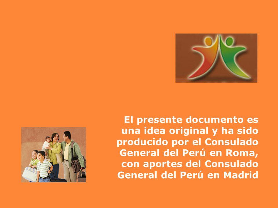 El presente documento es una idea original y ha sido producido por el Consulado General del Perú en Roma, con aportes del Consulado General del Perú e