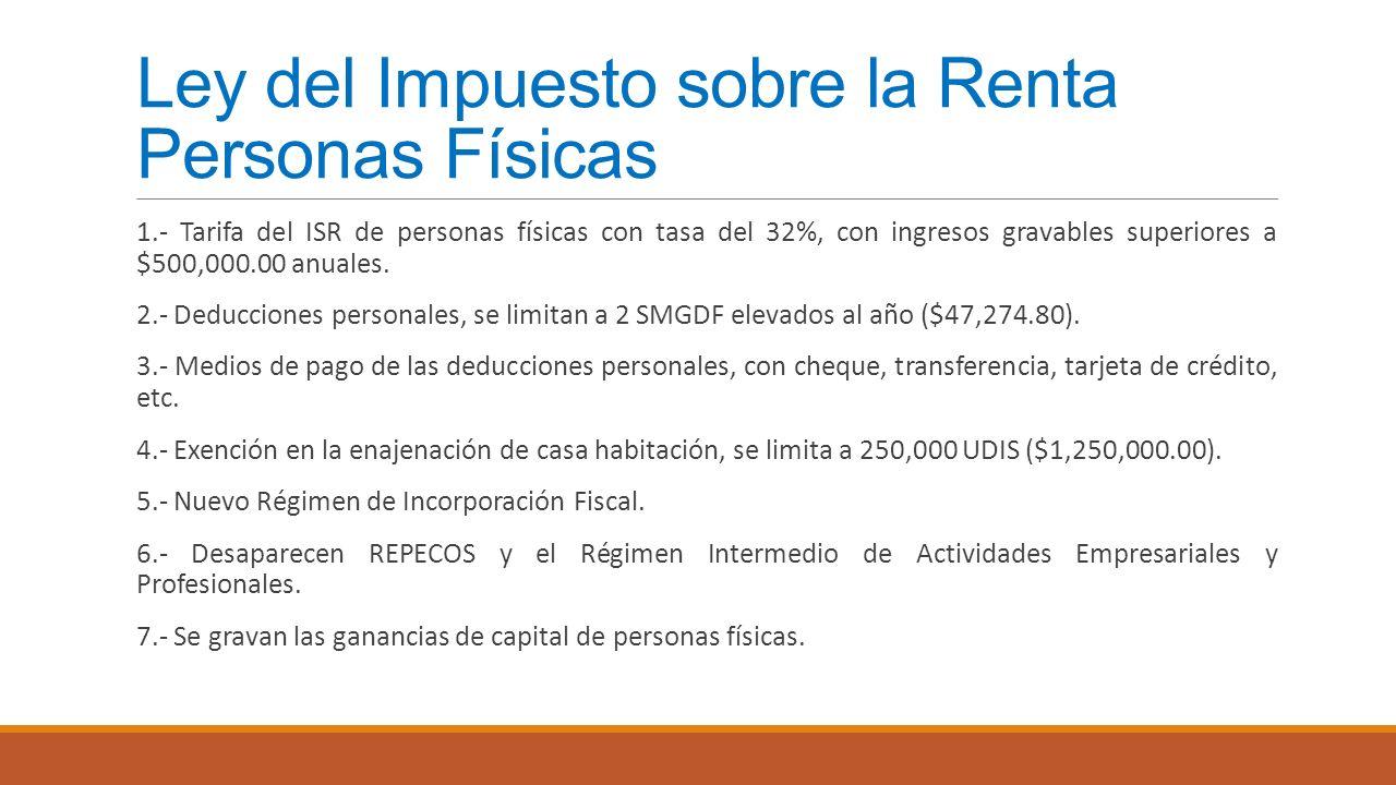 Ley del Impuesto sobre la Renta Personas Físicas 1.- Tarifa del ISR de personas físicas con tasa del 32%, con ingresos gravables superiores a $500,000