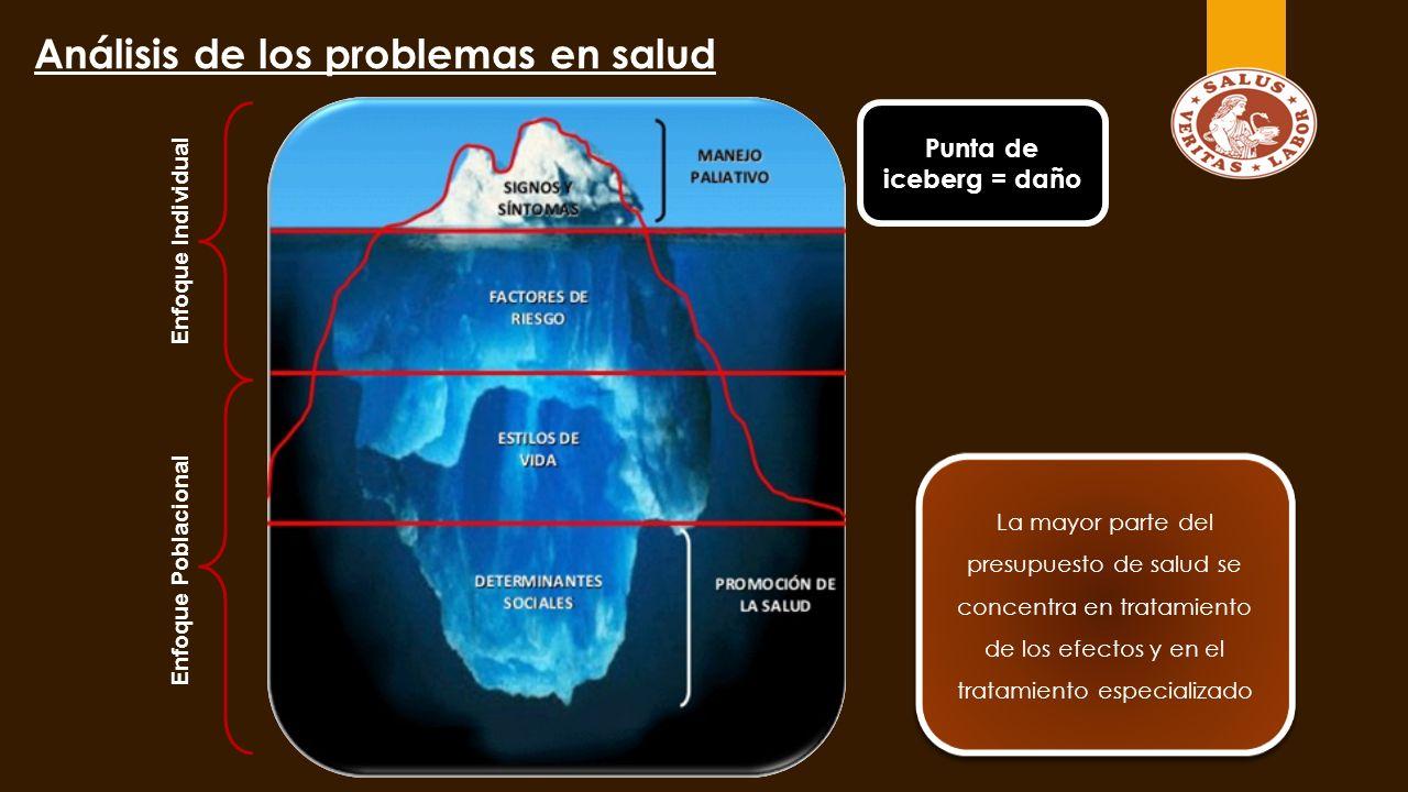 Análisis de los problemas en salud Enfoque Poblacional Enfoque Individual La mayor parte del presupuesto de salud se concentra en tratamiento de los efectos y en el tratamiento especializado Punta de iceberg = daño