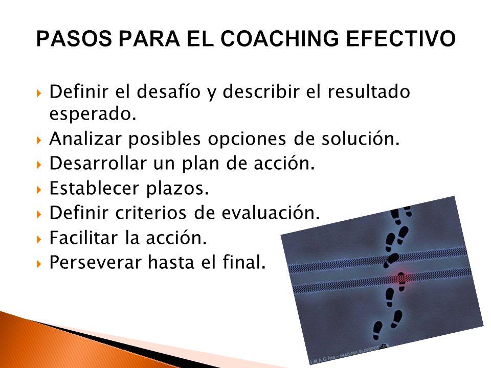 Definir el desafío y describir el resultado esperado. Analizar posibles opciones de solución. Desarrollar un plan de acción. Establecer plazos. Defini