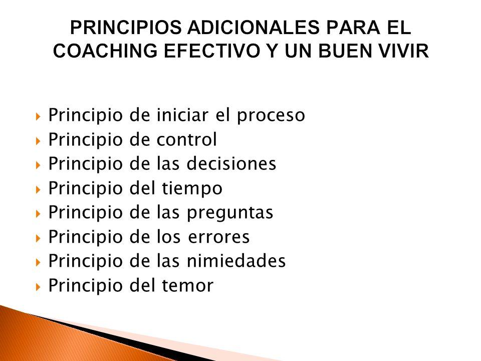 Principio de iniciar el proceso Principio de control Principio de las decisiones Principio del tiempo Principio de las preguntas Principio de los erro