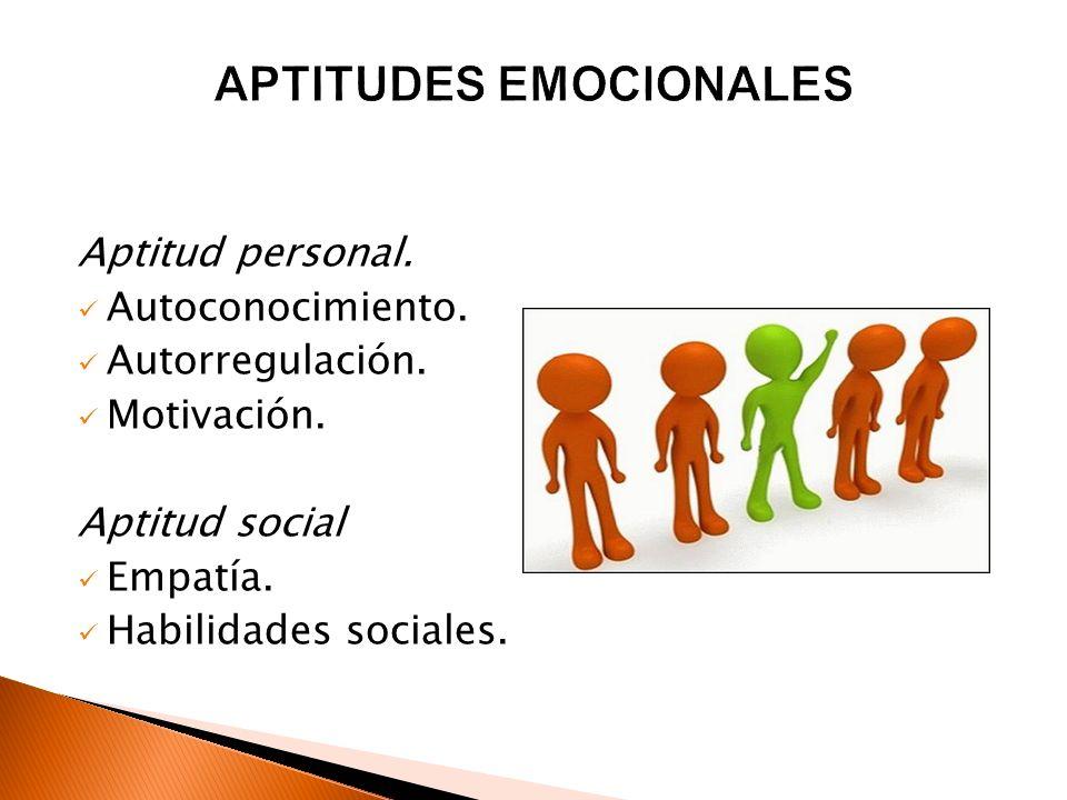 Aptitud personal. Autoconocimiento. Autorregulación. Motivación. Aptitud social Empatía. Habilidades sociales.