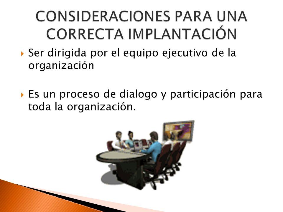 Ser dirigida por el equipo ejecutivo de la organización Es un proceso de dialogo y participación para toda la organización.