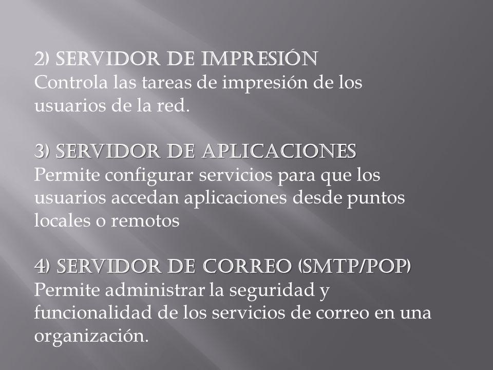 2) Servidor de impresión Controla las tareas de impresión de los usuarios de la red. 3) Servidor de aplicaciones Permite configurar servicios para que