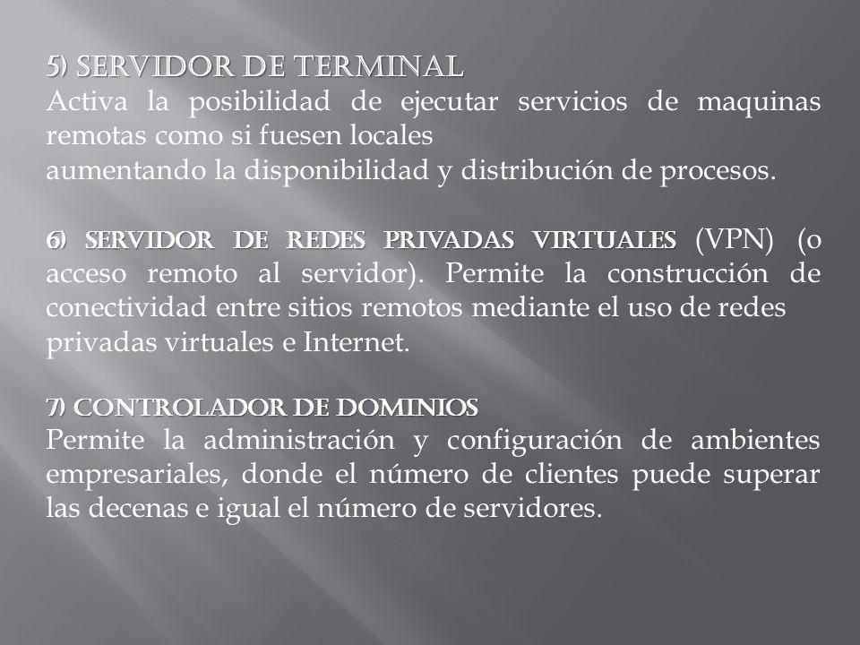 5) Servidor de Terminal Activa la posibilidad de ejecutar servicios de maquinas remotas como si fuesen locales aumentando la disponibilidad y distribución de procesos.